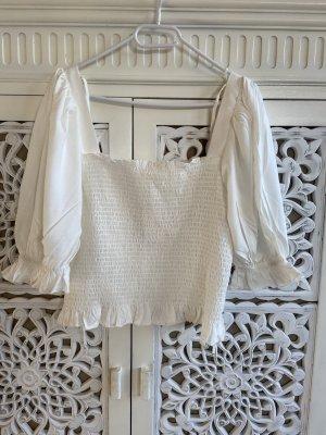 H&M Prążkowana koszulka biały
