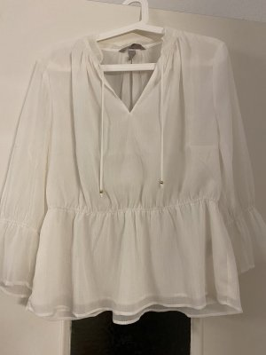 H&M Conscious Exclusive Cuello de blusa blanco-color oro