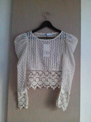 wunderschöne Bluse mit Stickerei, Perlen und Schmuckbesatz, Grösse S, neu