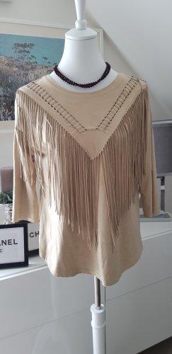 Bershka Skórzana bluzka beżowy Tkanina z mieszanych włókien