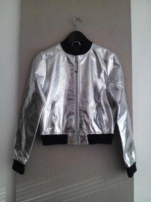 Zara Bomber Jacket silver-colored-dark blue viscose