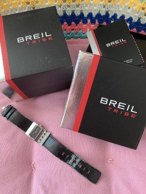 Breil Montre avec bracelet en cuir noir-argenté