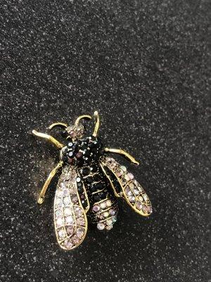 Wunderschöne Brosche bronze Biene Kristalle
