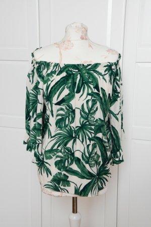 Wunderschöne Carmen Bluse mit tropischen Mustern große Gr. 34