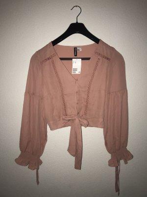 wunderschöne Crop Bluse rosa zum Binden H&M Gr.38 Neu