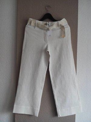 wunderschöne Culotte in wollweiß aus 80% Leinen mit gesticktem Gürtel, Größe M, neu