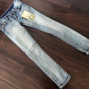 Jeans elasticizzati azzurro-blu acciaio