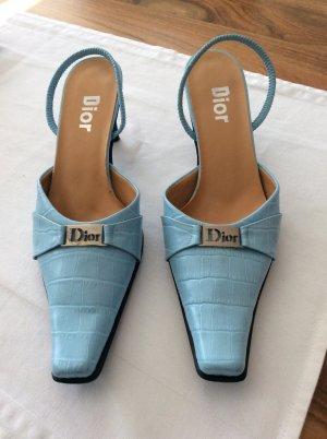 Christian Dior Pumps met bandjes zwart-babyblauw