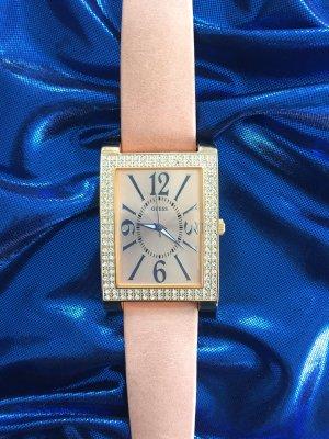 Guess Horloge met lederen riempje goud-nude Leer