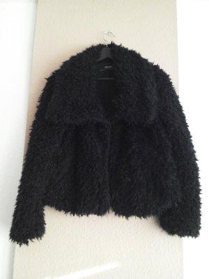 Zara Giacca di pelliccia nero Poliestere