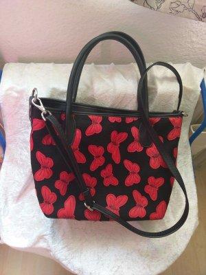 Wunderschöne, feminine Tasche mit zartem Schmetterlingsmotiv, neu und unbenutzt in schwarz-rot!
