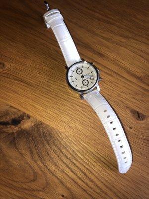 Fossil Zegarek ze skórzanym paskiem biały-srebrny