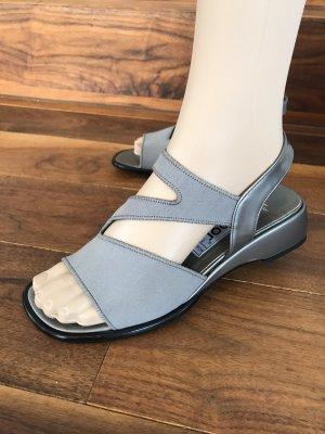Wunderschöne Gabor Sandalen * silbergraues Leder mit Mikrofaser * Größe 4,5 * 38