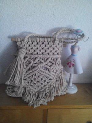 wunderschöne handgearbeitete geflochtene Zara Tasche aus Baumwolle und Holz, neu