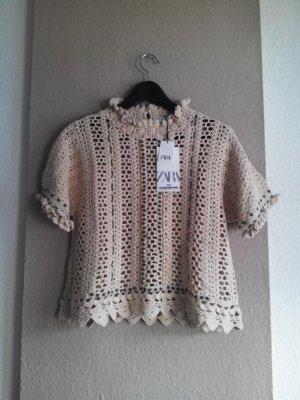 wunderschöne handgearbeitete Häkelbluse aus Baumwolle, Grösse M, neu