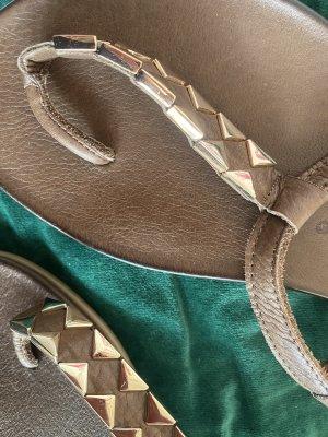 Inuovo Sandalo toe-post marrone-grigio-color oro rosa Pelle