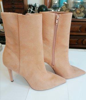 H&M Wysokie buty na obcasie camel Skóra