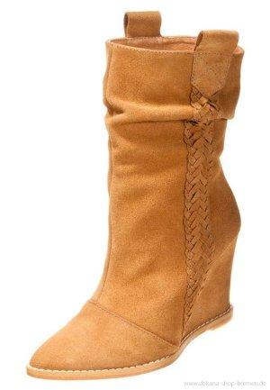 Wunderschöne KEILSTIEFEL Stiefel Camel Leder Boots Cowboy Ankleboots Festival Frühling MUST HAVE!