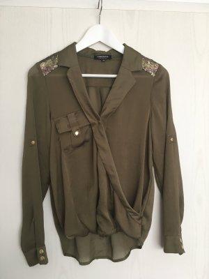 Wunderschöne khaki- / olivfarbene Bluse mit Pailettenbesatz von Morgan