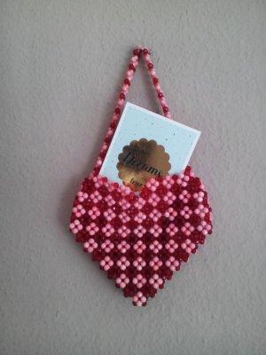 Zara Torebka typu worek czerwony-stary róż Tkanina z mieszanych włókien