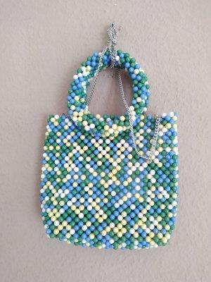 wunderschöne kleine Henkeltasche in grün-blau-gelb Schmuckperlen, neu