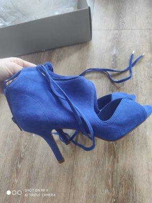 H&M Premium Sandales à talons hauts et lanière bleu cuir