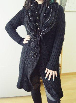Fashion Elle Cárdigan de punto grueso negro