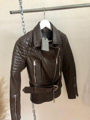 Allsaints Skórzana kurtka czarno-brązowy