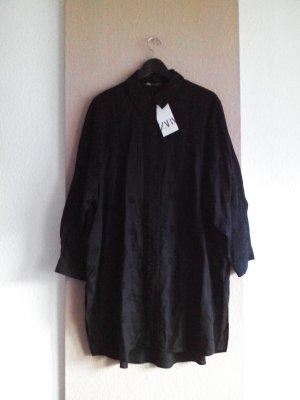 wunderschöne Long-Bluse mit Lochstickerei in schwarz, Größe L oversize, neu