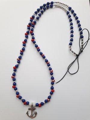 wunderschöne maritime lange Perlen Kette mit silberfarbenem Anker