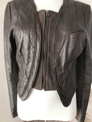 Aako Short Jacket black brown leather