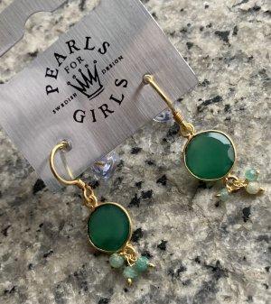 pearls for girls Wiszące kolczyki złoto-zielony