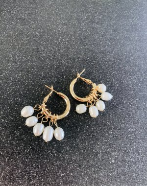 Anthropologie Earclip gold-colored-white metal
