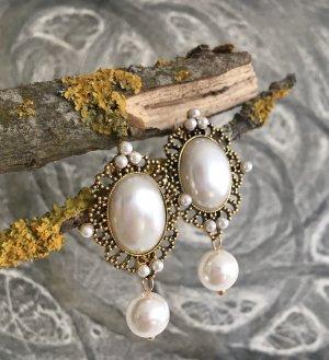 Orecchino di perle oro-bianco sporco