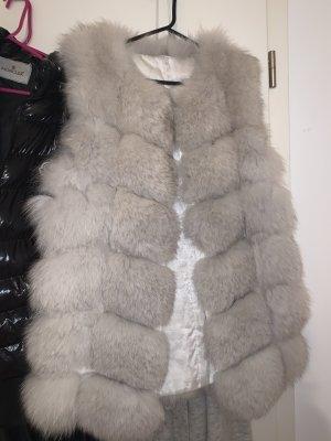 Fur vest white-light grey