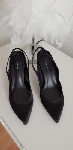 Zara Basic Slingback Pumps black mixture fibre