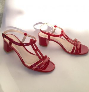 Strapped Sandals red leather
