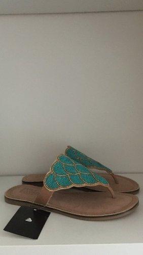 Bullboxer Sandały japonki z rzemykami turkusowy-jasnobrązowy