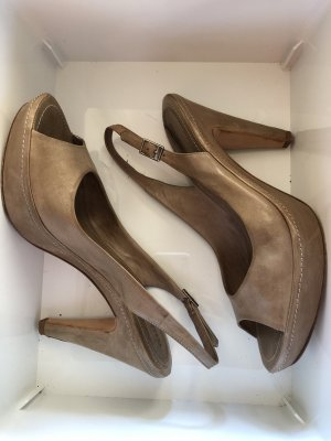 A-Z Peep Toe Pumps grey brown leather