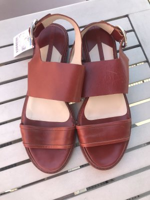 Zara Woman Strapped Sandals cognac-coloured leather
