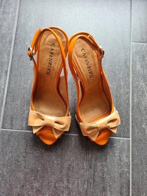 Café Noir Strapped High-Heeled Sandals orange leather