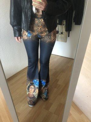 Pantalone a zampa d'elefante nero-giallo