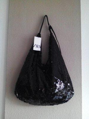wunderschöne Schopper Tasche aus Pailletten in schwarz, neu