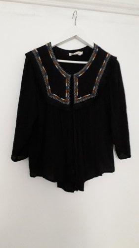 Wunderschöne schwarze Boho Bluse mit Farbapplikationen