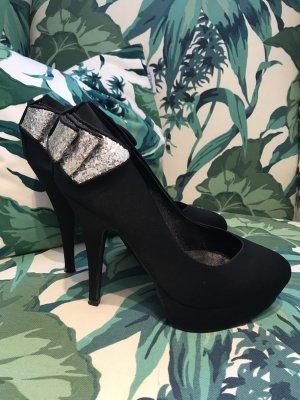 Wunderschöne schwarze High Heels * Satin mit Glitzerschleife