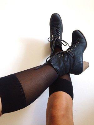 wunderschöne schwarze Mattleder- Schnürstiefel