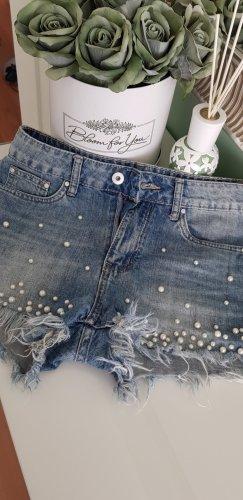 Short en jean blanc-bleu azur coton