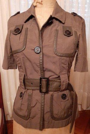 René Lezard Blouse Jacket grey brown-brown leather