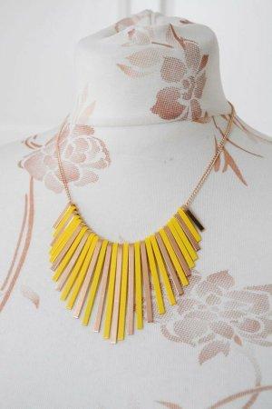 Wunderschöne Statement Kette Halskette  in Gelb und Roségold neu