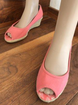 Wunderschöne Stoff-Wedges * Peeptoe-Sandalen mit Sisal-Keilabsatz